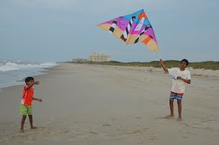 Flyng a kite at the Outer Banks, NC